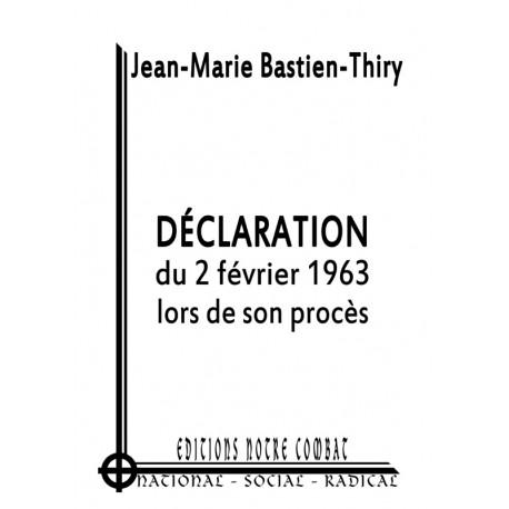 Déclaration du 2 février 1963, lors de son procès